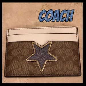 🔹NWT🔹COACH blue star credit card case.